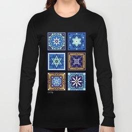 Talavera Mexican Tile – Navy & Bronze Palette Long Sleeve T-shirt