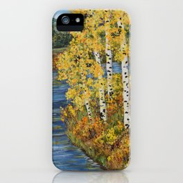 Autumn in the Mountains, Fall Decor, Aspen Birch Tree Painting iPhone Case
