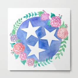 Tennessee Tri-star with flowers Metal Print