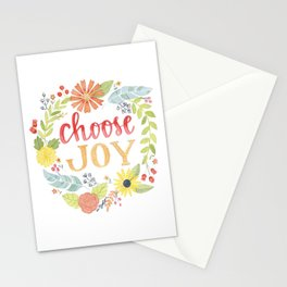 Choose Joy | Floral Feather Berries Rosehips Leaves Border Stationery Cards