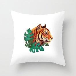 Monstera Tiger Throw Pillow