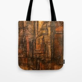 Rich Brown Bronze Heavy Textured Acrylic Painting Tote Bag