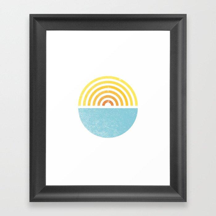 Vinyl Sunset Ocean Gerahmter Kunstdruck