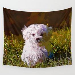 maltese dog vector art Wall Tapestry