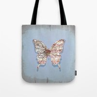 atlanta Tote Bags featuring butterfly atlanta by Steffi Louis