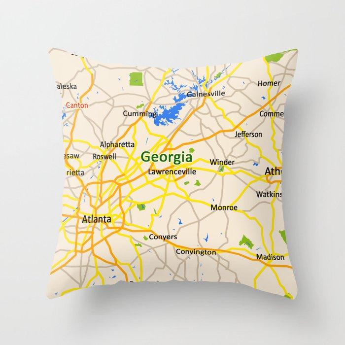 Georgia Map Design Usa Map Throw Pillow By Efratul Society6