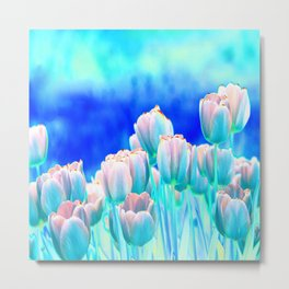 Tulips in Spring Abstract Metal Print