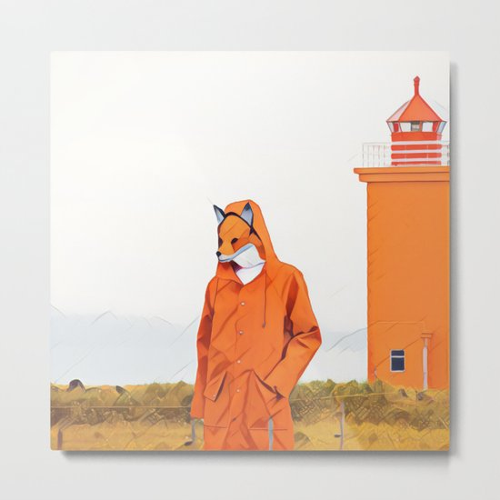Fox and the lighthouse Metal Print