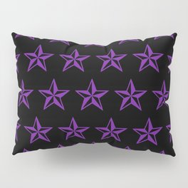 Purple Tattoo Style Star on Black Pillow Sham