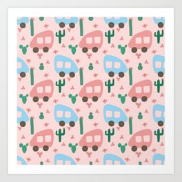 Camper Vans in Blue and Pink with Green Cactus and Pink Flowers Art Print