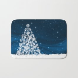 Blue Christmas Eve Snowflakes Winter Holiday Badematte