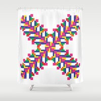 tetris Shower Curtains featuring Tetris Embroidery by Jessie Prints Stuff