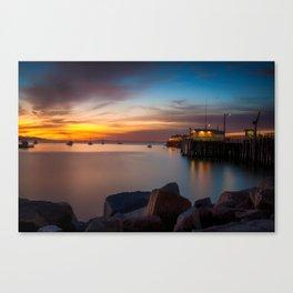 Here she comes again the sun rising at Port San Luis vila Beach Canvas Print