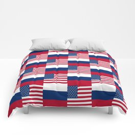 Mix of flag : Usa and russia Comforters