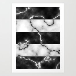 Black and white marble texture 10 Art Print