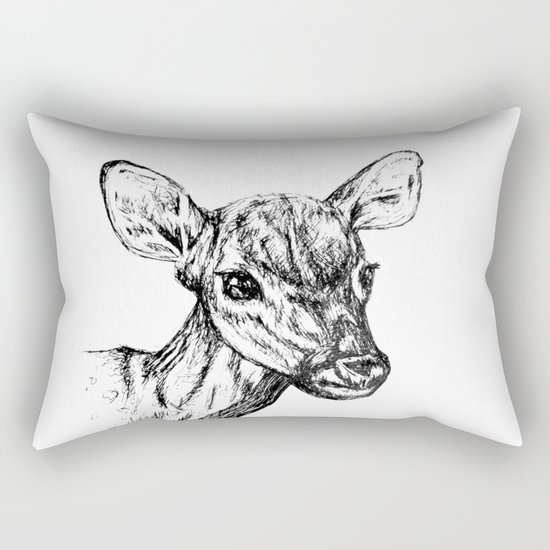 Deer - Black & White Rectangular Pillow