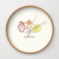 Eat Real Food. (light) Wall Clock