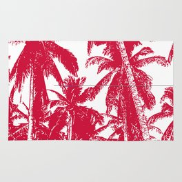 Palm Trees Design in Red and White Rug
