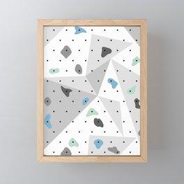 Abstract geometric climbing gym boulders blue mint Framed Mini Art Print