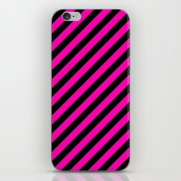 Bright Hot Neon Pink and Black Candy Cane Stripes iPhone Skin