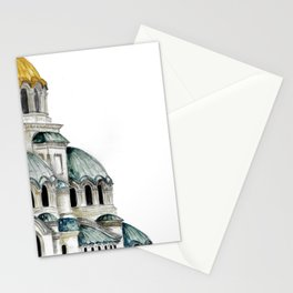 Alexander Nevsky Cathedral, Sofia, Bulgaria, watercolor Stationery Cards