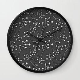 Baby's Breath Flower Pattern - Black Wall Clock