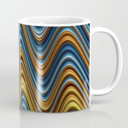 CURRENT fractal waves of gold turquoise and brown Coffee Mug
