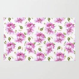 Modern hand painted lilac pink watercolor floral daisies pattern Rug