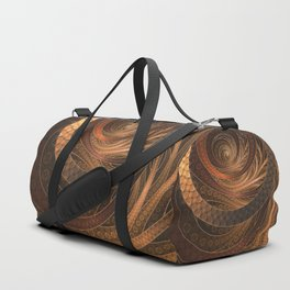 Earthen Brown Circular Fractal on a Woven Wicker Samurai Duffle Bag