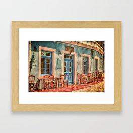 Pastel Cafe Peloponnese Greece Framed Art Print