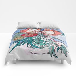 Painterly Vase of Proteas, Wattles, Banksias and Eucayptus on Blue Comforters