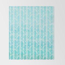 Handpainted Chevron pattern - small - light green and aqua teal Throw Blanket