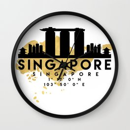 SINGAPORE SILHOUETTE SKYLINE MAP ART Wall Clock