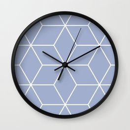 Blue and white geometric pattern Wall Clock