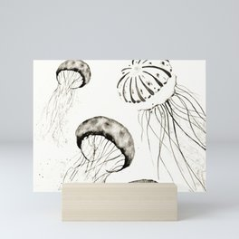 jelly fishes black and white Mini Art Print