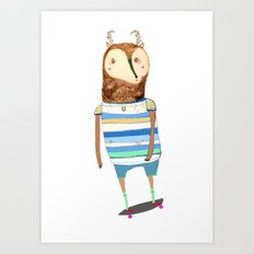 Deer, deer art, deer print, deer illustration, skateboard art, skateboarder,  Art Print