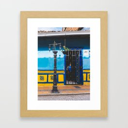 Man in the Shadows of Guatape, Colombia Framed Art Print