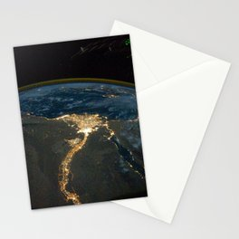 693. Cairo and Alexandria, Egypt at Night (NASA, International Space Station Science, 10:28:10) Stationery Cards