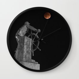 Fisherman's Memorial Lunar Eclipse BW #2 Wall Clock
