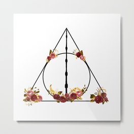 Deathly Hallows in Red and Gold Metal Print