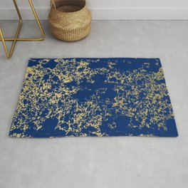 Navy Blue and Gold Patina Design Rug