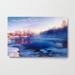 Forest and lake glace under bright sky Metal Print