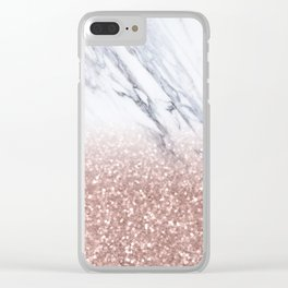 Rose Gold Glitter Marble Clear iPhone Case