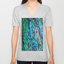 Glowing Aqua Abalone Shell Mother of Pearl Unisex V-Neck