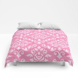 Damask Baroque Pattern Light on Dark Pink Comforters
