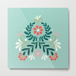 Floral Folk Pattern Metal Print