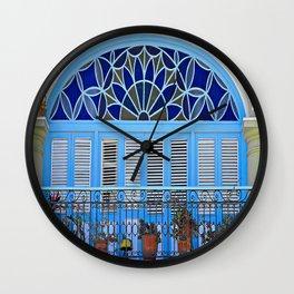 Balcony with Flowerpots  Wall Clock