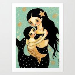 Mama and Baby Mermaid by Tascha Art Print