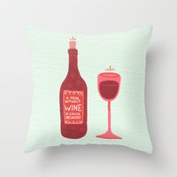 wine Throw Pillows featuring Wine by Cat Coquillette