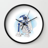 r2d2 Wall Clocks featuring R2D2 by Lalu - Laura Vargas